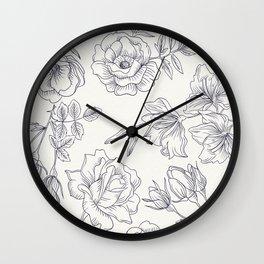 black white seamless flowes Wall Clock