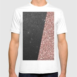 Abstract black rose gold geometrical glitter T-shirt