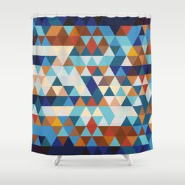 Geometric Triangle Blue, Brown  - Ethnic Inspired Pattern Shower Curtain