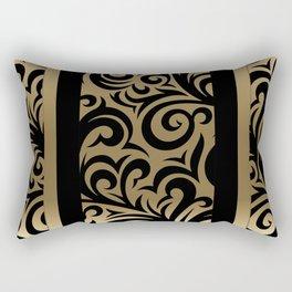 Gold and Black Swirl Pattern Rectangular Pillow