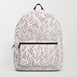 Modern rose gold brushstrokes dots confetti geometric pattern on white marble Backpack