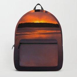 Sunset With Orange Sky Reflections On The Icy Lake #decor #society6 #homedecor #buyart Backpack