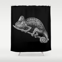 chameleon Shower Curtains featuring Chameleon by Tim Jeffs Art