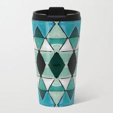 Art Deco Triangles Blue Metal Travel Mug