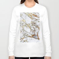 white marble Long Sleeve T-shirts featuring Gold Marble by Jenna Davis Designs