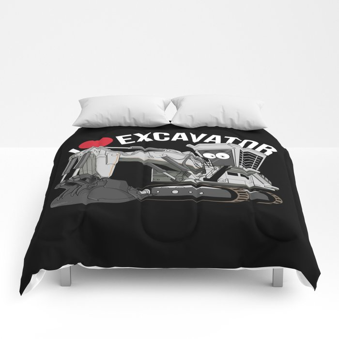 I Love Excavator Comforters