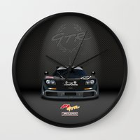 f1 Wall Clocks featuring 1995 McLaren F1 GTR Le Mans Winner by vsixdesign