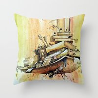 school Throw Pillows featuring school by Andreas Derebucha