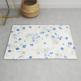 blue abstract hydrangea pattern Rug