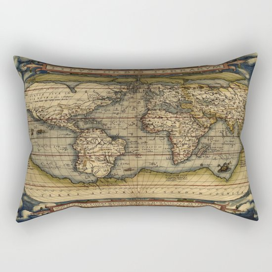 Vintage World Map - Ortelius World Map 1570 Rectangular Pillow
