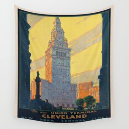 Vintage poster - Cleveland Wall Tapestry