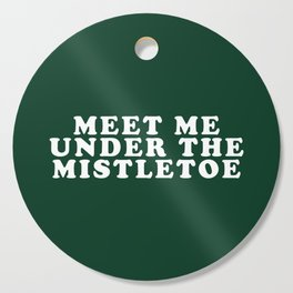 Christmas Mistletoe Kiss Dark Green Cutting Board