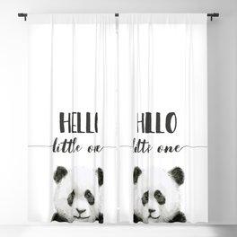 Panda Art Print Baby Animals Hello Little One Nursery Decor Blackout Curtain