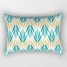 Mid Century Modern Abstract Floral Pattern in Turquoise Teal Aqua and Marigold Rectangular Pillow