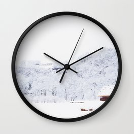 Cabin in the Snow (Color) Wall Clock