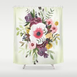 Burgundy Blush Watercolor Floral Shower Curtain