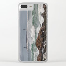 Green waves with twin lights Clear iPhone Case