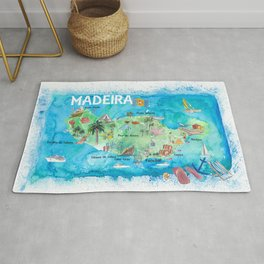 Madeira Portugal Island Illustrated Map with Landmarks and Highlights Rug