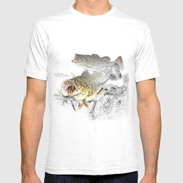 Largemouth Black Bass Fishing Art T-shirt