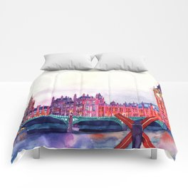 Sunset in London Comforters