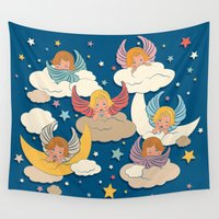 angels Wall Tapestries featuring Angels by Helene Michau