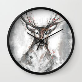 Deer, Christmas Art, Stag Painting Wall Clock