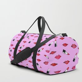 Lips and lispticks pattern in pinkish background Duffle Bag