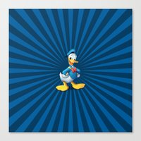 donald duck Canvas Prints featuring Donald - The Duck by applerture
