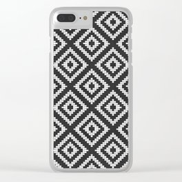 Stair Step Diamond Geometric Tribal in Black and White Clear iPhone Case