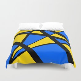 Yellow and Blue Triangles Abstract Duvet Cover