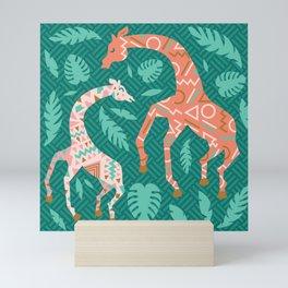 Pink Dancing Giraffes on Teal Green Mini Art Print