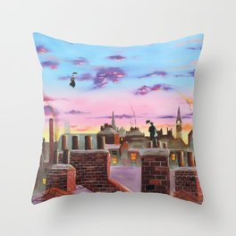 Mary Poppins and Bert Throw Pillow
