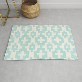 Pastel Marine Blue Turquoise Geometric Watercolor Aztec Pattern Cute Light Hearted Style Rug