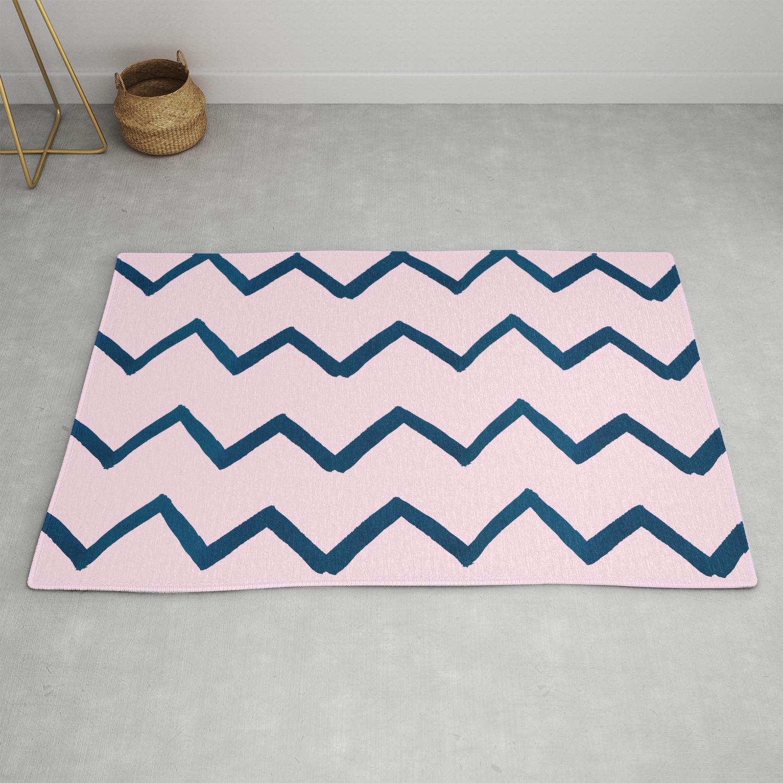 Geometric Baby Pink Navy Blue