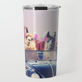 Llamas on the road Travel Mug