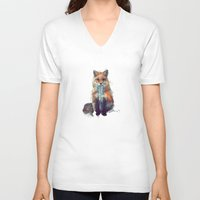 face V-neck T-shirts featuring Fox by Amy Hamilton