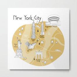New York City Map - Yellow Metal Print