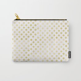 Vintage rustic faux gold white elegant polka dots pattern Carry-All Pouch
