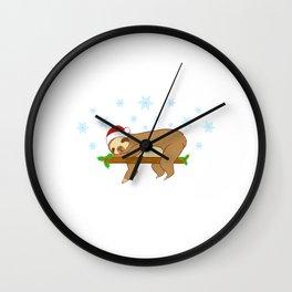 Snowin' And Sleepin' Sloth Merry Christmas December 25 T-Shirt Design Lazy Slow Tree Hung Animal Zoo Wall Clock