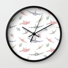 Colorful Plane Sketches Wall Clock