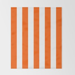 Willpower orange - solid color - white vertical lines pattern Throw Blanket
