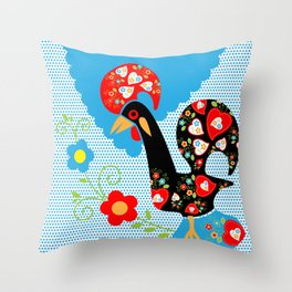 Portuguese Rooster of Luck with blue dots Throw Pillow