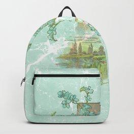 Modern vintage mint marble floral landscape Backpack