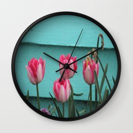 Tulips Against The Wall Wall Clock