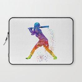 Girl Baseball Softball Batter Sports Art Colorful Watercolor Gift Laptop Sleeve