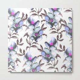 Floral Watercolor - Periwinkle and Fuscia Metal Print