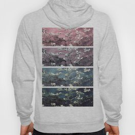 Vincent Van Gogh Almond Blossoms Panel Dark Pink Eggplant Teal Hoody