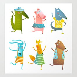 Animals dancing party fun and colorful Art Print