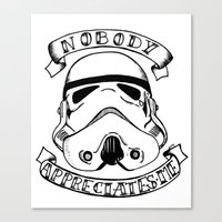 storm trooper Canvas Prints featuring Storm trooper by Kitty Judge