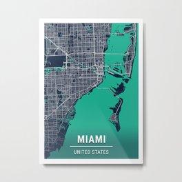 Miami Blue Dark Color City Map Metal Print